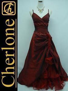 Cherlone-Satin-Burgundy-Lace-Prom-Ball-Gown-Wedding-Evening-Dress-UK-Size-12-14