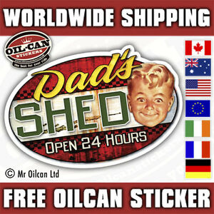 Dads-Shed-open-24-hours-retro-car-sticker