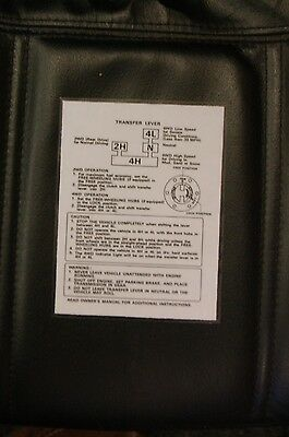 Suzuki Samurai Transfer Case Instruction Card Laminated reproduction White/black