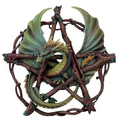 Wall Plaque Anne Stokes Dragon Pentagram Of the Woods Statue Figurine