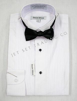 Boys White Tuxedo  Dress Shirt with Black Bow Tie Long Sleeves Sizes 4 to 20