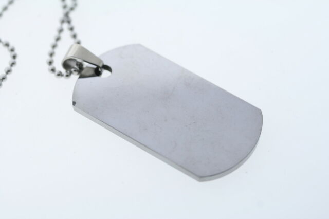 Reversable Polished and Satin Tungsten Dog Tag Pendant Necklace