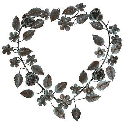 dotcomgiftshop VERDIGRIS LEAVES METAL HEART WREATH. LEAVES & FLOWERS DECORATION