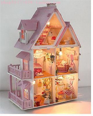 Large Dream Villa Room DIY Wood Dollhouse all Furniture & Light included diy