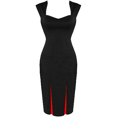 H & R london PLAIN BLACK Wiggle Pencil dress Pinup Vintage Inspired Retro 6884