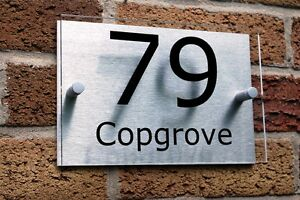 HOUSE-NUMBER-SIGN-PLAQUE-Brushed-Aluminium-amp-Acrylic-Modern-Contemporary