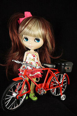 """RED Mini Bicycle BIKE toy for 12"""" Blythe & Pullip Doll"""
