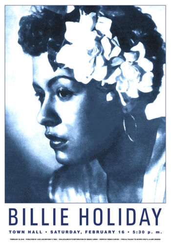 Billie Holiday * Town Hall NYC * Feb 16th,1946 * reprint * 17x24 Litho poster