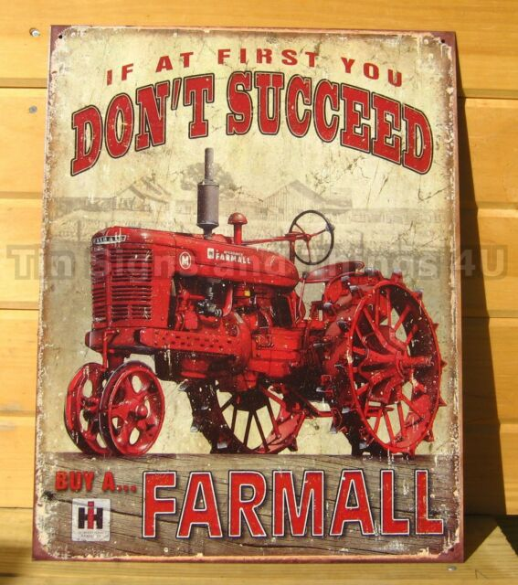 Farmall M Succeed metal poster TIN SIGN vintage antique steel wheel tractor 1742