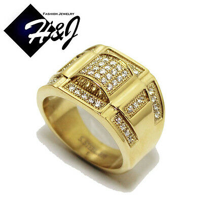 MEN's Gold Over Stainless Steel Silver 1.56 CT CZ Iced Out Bling Ring Size 8-12