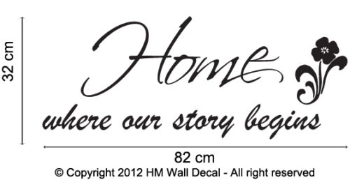 """/""""Home where our story begins /"""" inspirational quote wall art decal"""