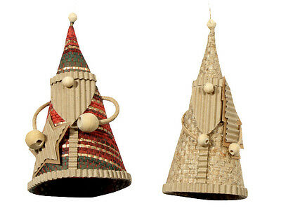 NEW! Upcycled Corrugated Santa Ornaments Handmade in the Philippines Fair Trade