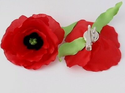 """Hand Made Flowers Poppy from Fabric Hair Clip & Pin Brooch,""""Handmade"""", Red, silk"""