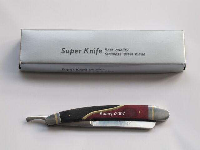 Super Knife Stainless Steel Straight Shaving Razor Copper&Steel&Wood Handle