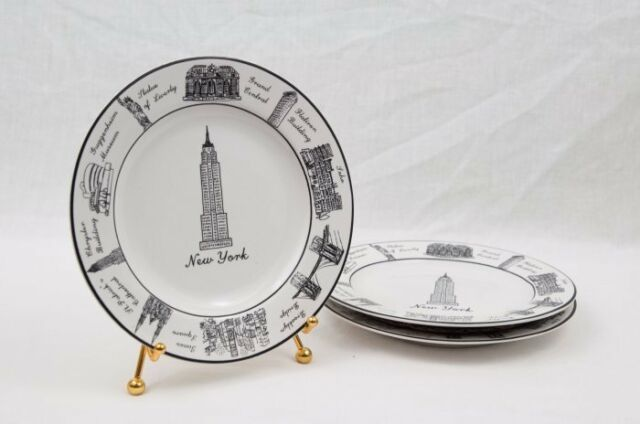 "222 Fifth Around the City New York 6 1/2"" Appetizer  Plates Lot of 3"