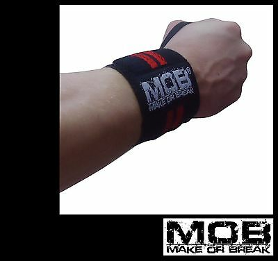 """MOB Gym Wrist Support Straps / Wraps  - 12"""" - 18"""" - 24"""" - Made For Heavy Lifting"""