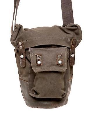 Mens Ladies Genuine WW2 GasMask Bag Canvas Military Vintage Leather Shoulder