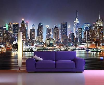 "New York City Skyline Wall Mural Designer Photo Wallpaper""Manhattan Night"" Art-7"