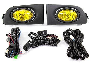 01-03 Honda Civic ES EM 2/4 Door JDM Yellow Fog Light Kit + Harness Complete