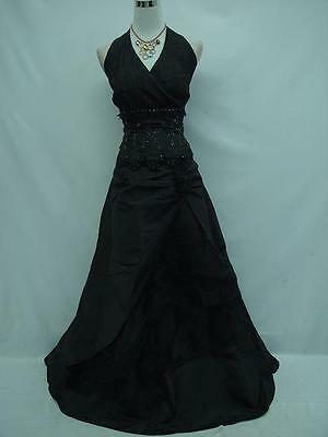 Cherlone Plus Size Black Halter Sparkle Ball Gown Wedding/Evening Dress UK 24-26