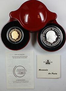 1988-France-Charles-De-Gaulle-1-Franc-Gold-Silver-Proof-Coin-Set-In-Case-COA