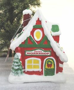 Santa 039 s workshop north pole village series ceramic lighted house