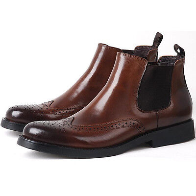 New Italian Leather Brogue Wingtip Men Formal Dress shoes Business chelsea Boots