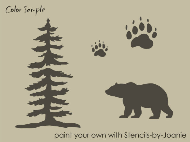 STENCIL Bear Tree Paw Tracks Rustic Mountain Outdoor Cabin Lodge Signs U Paint
