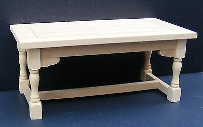 1:12 Scale Natural Finish Kitchen Table Dolls House Miniature Furniture 002