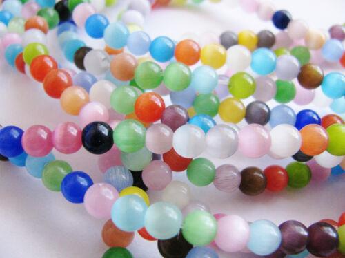 1 Strang Cat Eye Glasperlen 6 mm bunt gemischt,  64 Stk. Schmuck mit Perlen