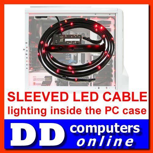 NZXT Red Sleeved LED Kit 100cm Lighting inside Computer Desktop PC Gaming Case