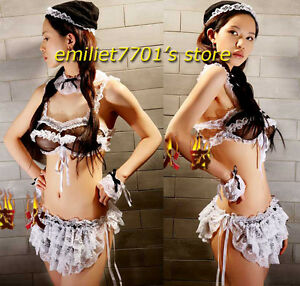 Hot Adult Maid Halloween Costume See-through Lace Erotic Waiter ...