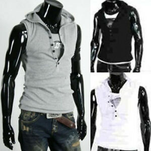 Mens-Casual-Slim-Fit-hoody-sleeveless-Tee-Shirt-T-shirt-H683-3Size-5color