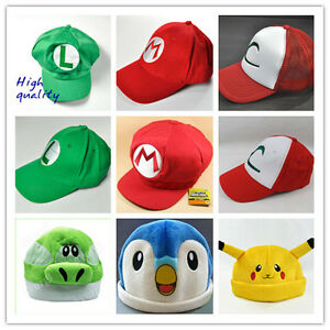 Wholesale-super-mario-and-pokemon-Anime-Cosplay-hat-cap-large-collection