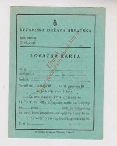 CROATIA WW II ,hunting licenses ,uzorak,specimen