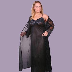 Plus-Size-Lingerie-Sizes-1X-thru-5X-Black-Long-Pegnoir-with-Sheer-Coat-1149X