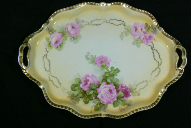 Antique Royal Rudolstadt Prussia Pink Roses Cream Gold trim Porcelain Plate tray