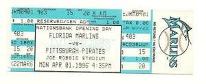 1996 Florida Marlins Opening Day FULL Ticket vs Pittsburgh