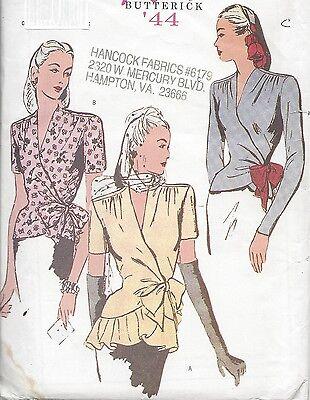 1944 Vintage Sewing Pattern B34-36-38 WRAP-AROUND BLOUSE (R813)