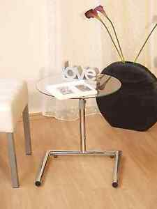 beistelltisch tisch couchtisch beitisch h henverstellbar chrom glas klarglas neu ebay. Black Bedroom Furniture Sets. Home Design Ideas