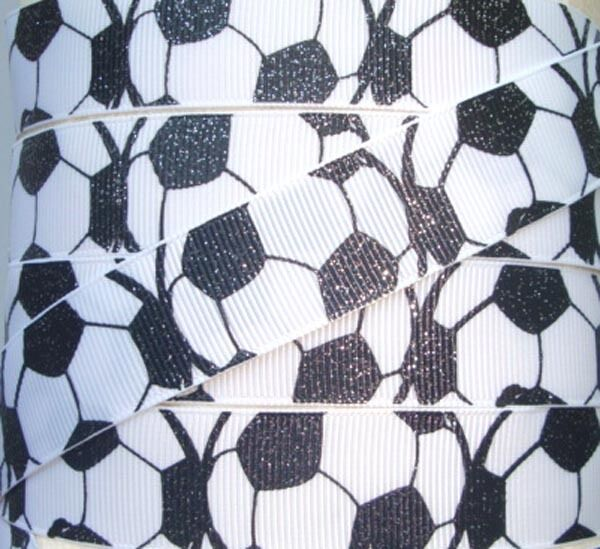7/8 GLITTER SOCCER BALL GOAL SCORE CHEER TEAM GROSGRAIN RIBBON 4 HAIRBOW BOW
