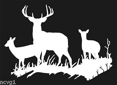 DEER FAMILY Decal/Sticker buck antler hunting doe #6