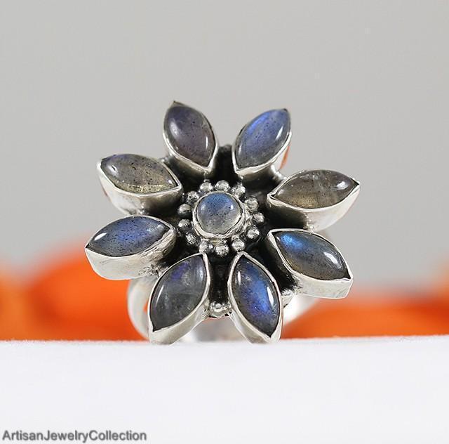 LABRADORITE & 925 Sterling Silver RING Size ~8.5