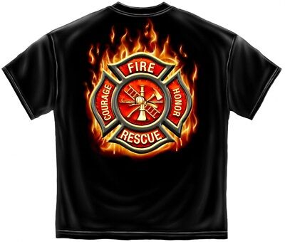 CLASSIC FIRE RESCUE BLACK T-SHIRT FIREFIGHTER FF2065