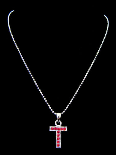 """/""""T/"""" lettre initiale alphabet Pendentif Charme Collier Ton Argent Cristal 6 Couleurs"""