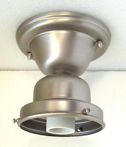 Image Is Loading 4 Inch Schoolhouse Satin Nickel Light Fixture Shade