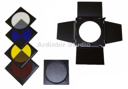 4 Way Barn Door Honeycomb/Grid Gel Set for Bowens Flash
