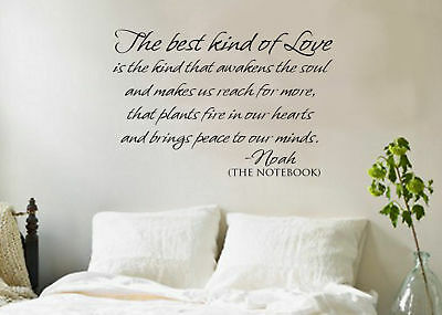 Best Kind of Love THE NOTEBOOK vinyl decal wall quote/words/phrase/DIY/art
