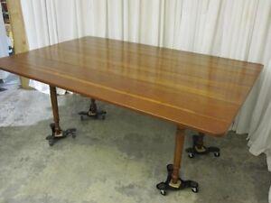 Vintage-Cherry-Wood-Drop-Leaf-Table-Harvest-Style-XCLNT
