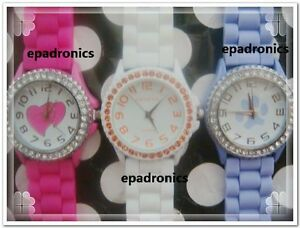 Graceful-Geneva-Silicone-Jelly-Watch-Crystals-on-Bezel-Multi-Colors-to-Choose